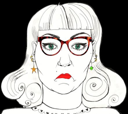 Natalie sad small glasses