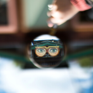 Worshipful Little Shop of Spectacles sign in mirror